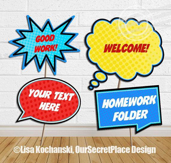 INSTANT DOWNLOAD Large Editable Classroom Signs Printable Classroom Signs Editable Speech Bubbles Staff Appreciation Superhero Classroom