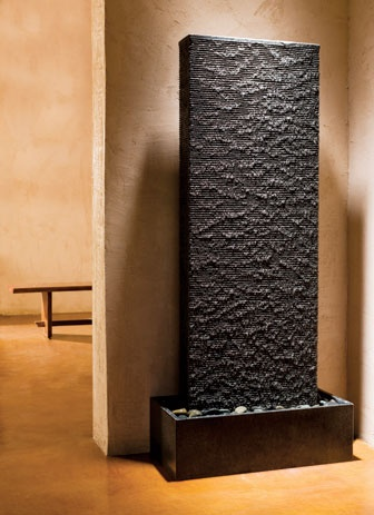 For a spa inspired bath-The Ribbed Waterwall fountain lends any room a soothing Japanese garden-like ambience. Made of blue-gray granite, the fountain measures 33½ inches wide by 17¾ deep by 72 high. Pump, basin, pebbles, and tubing included. 888-682-2987; stoneforest.com.  Contemporary Kitchen & Bath Products, Ideas & Design News | Interior Design