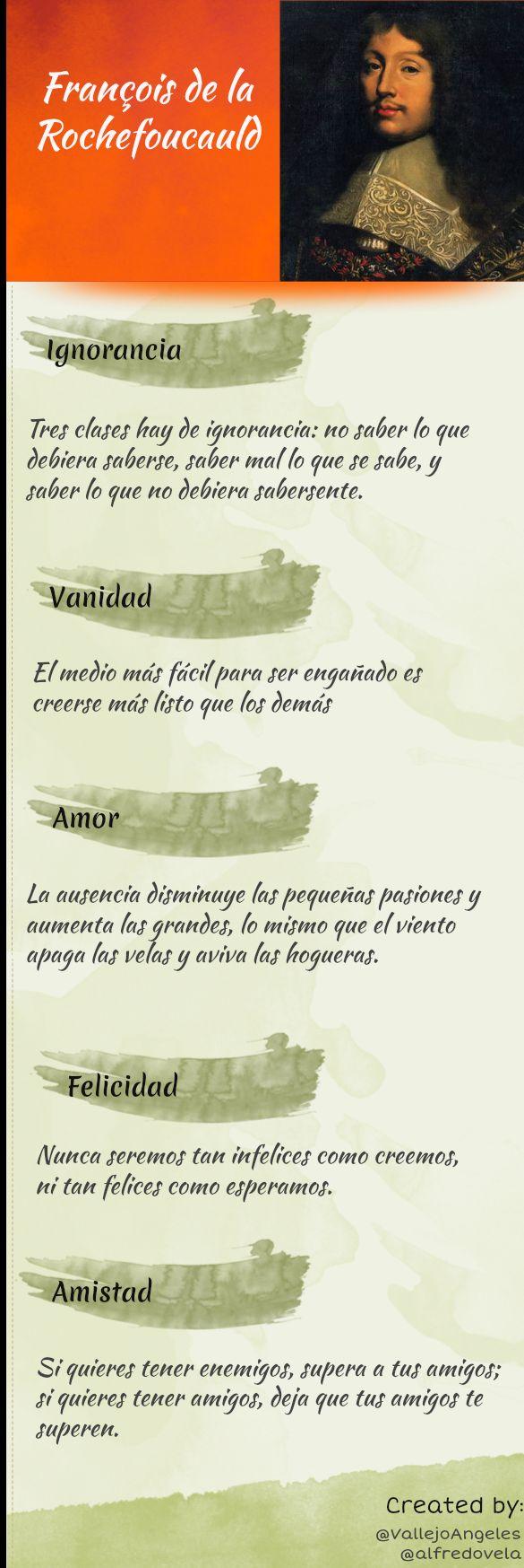 Frases célebres de François de La Rochefoucauld #infografia --> Excelente!