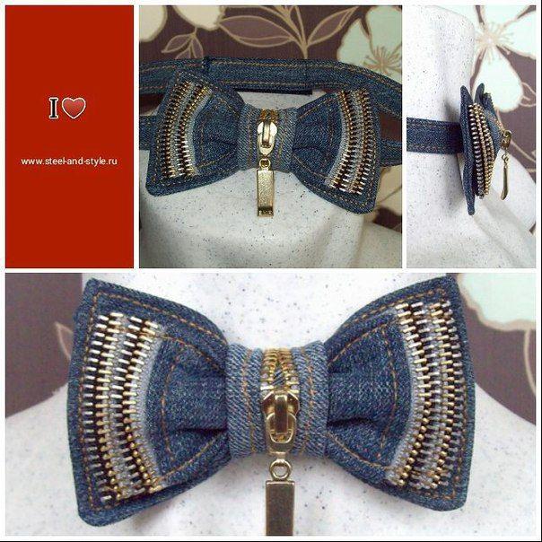 Эксклюзивный галстук бабочка из денима с элементами застежки молния от Cyrille Kozlov Design.