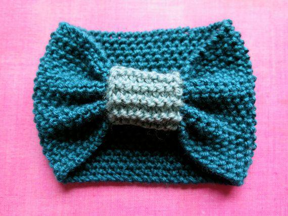 Hand knitted ladies headband Turquoise duo by MadeGinieLaine