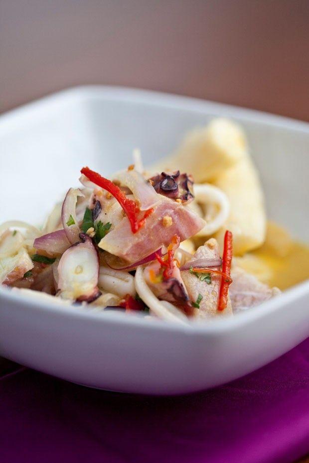 Receita: ceviche de peixe branco, polvo e lula (Foto: Divulgação)