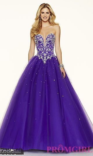 Ball Gown Style Tulle Strapless Mori Lee Prom Dress at PromGirl.com