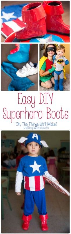 A homemade superhero costume wouldn't be complete without some DIY superhero boots; these two methods for making them are quick and easy.