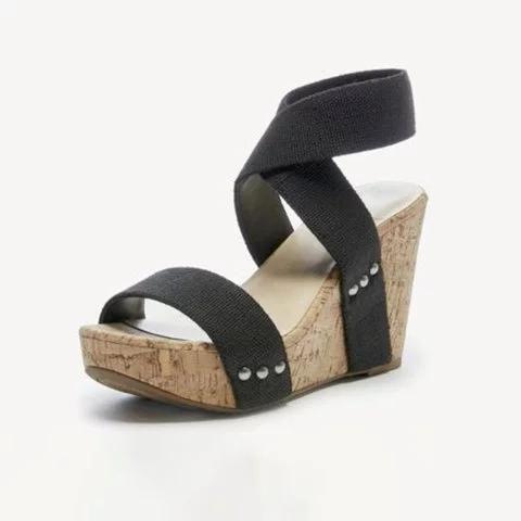 e2ce6f79742b Women Wedge Heel Sandal Peep Toe Elastic cloth Cross Bandage Sandals ...