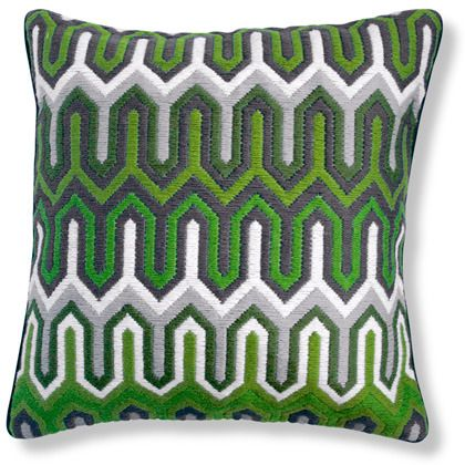 Green Bargello Chevron Pillow.....jonathan adler