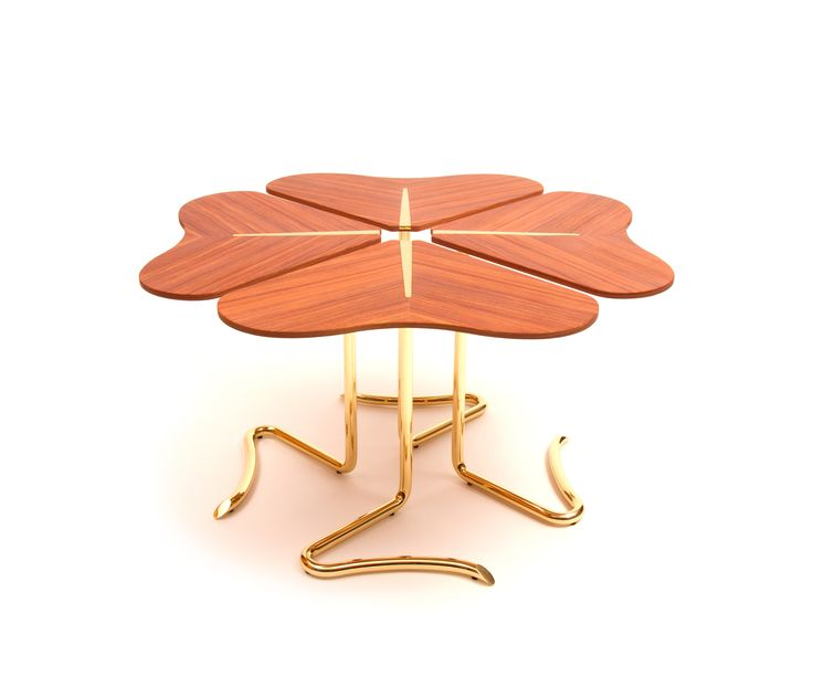 Four… for Luck center table by Joana Santos Barbosa for INSIDHERLAND  #table #rosewood #clover #fourleafclover #luck #furniturecollection #furnitureinspiration #entrance #home #tableideas #brass #brasstable #natureinspiration #nature #woodfurniture #uniquedesign #interiordecor #interiors #designtrends #organicdesign #uniquedesign #insidherland #jsb