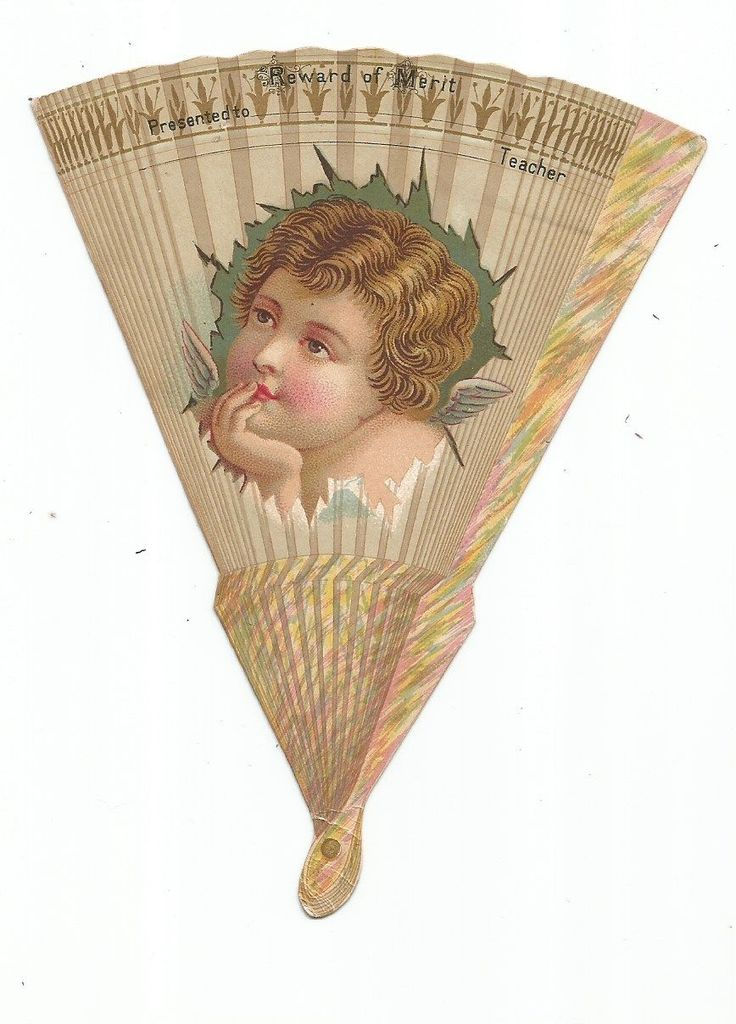 Victorian Trade Card Die Cut Of A Reward of Merit Fan picclick.com