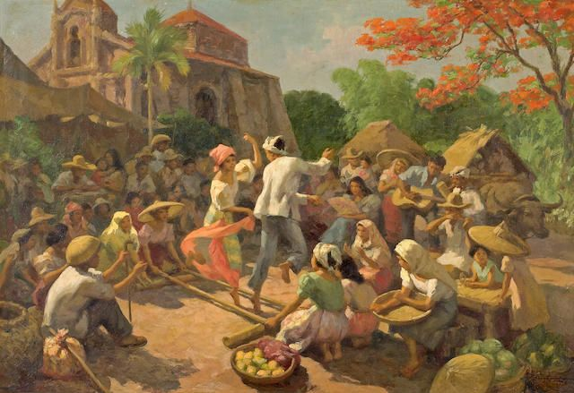 Fernando Amorsolo Tinikling Bamboo Pole Dance 1956 Filipino Art Philippine Art History Painting