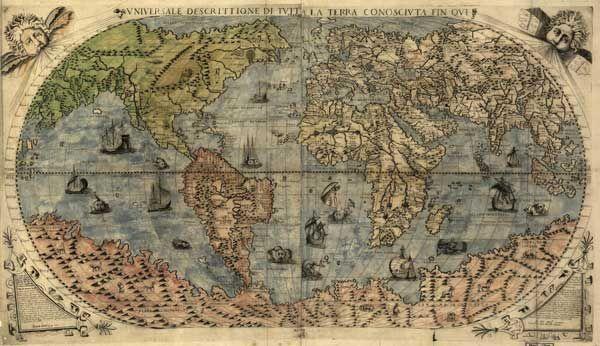 Старая карта мира - Старые карты - Terra Incognita. Сайт Рэдрика