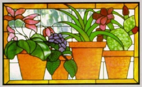 Stained Glass Supplies Four Pots Full Size Pattern | eBay