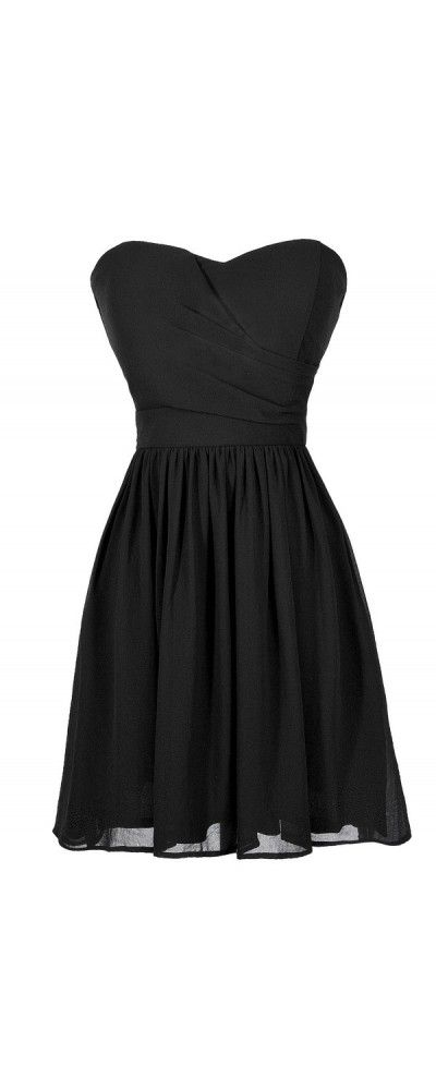 Simple and Sweet Chiffon Dress in Black  www.lilyboutique.com