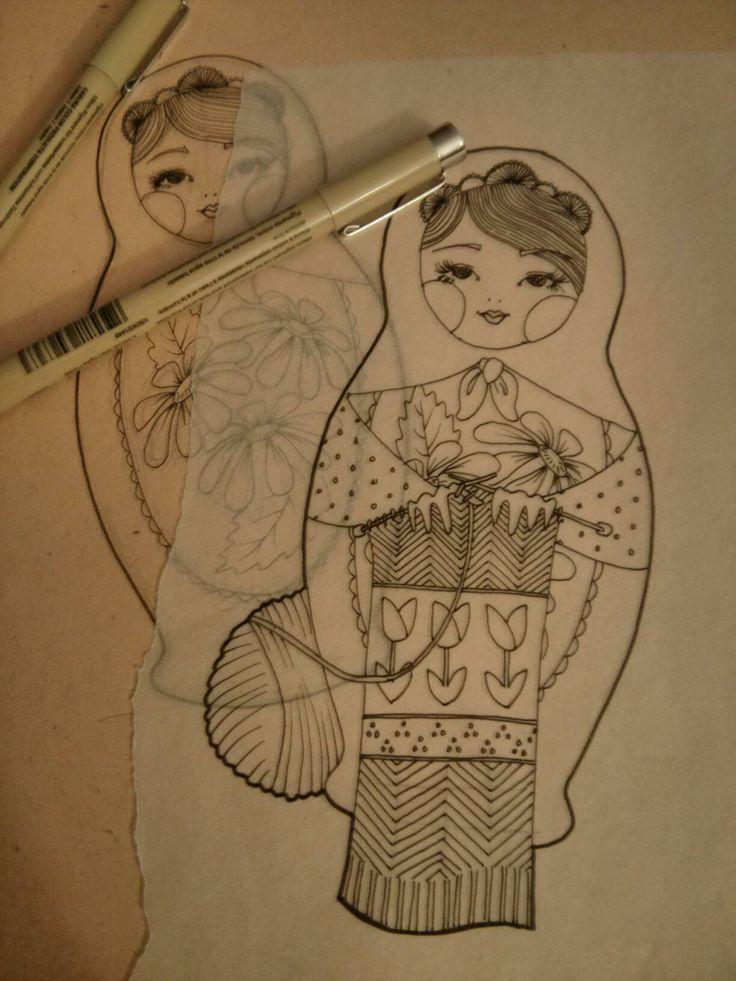Nesting doll tattoo sketch.