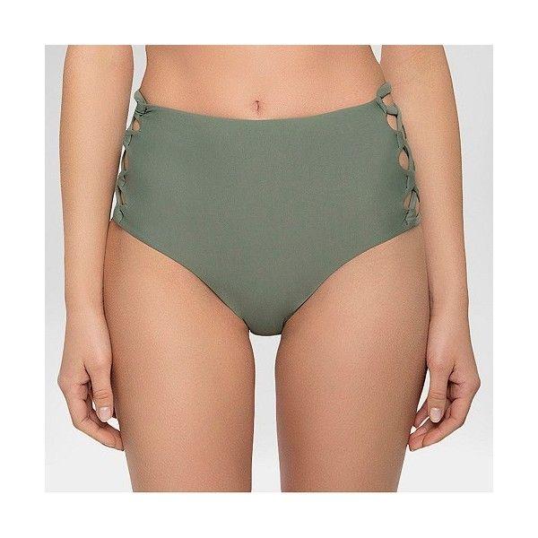 Women's Strappy High Waist Swim Bottom Army Green ($28) ❤ liked on Polyvore featuring swimwear, bikinis, bikini bottoms, green, floral high-waisted bikinis, floral high waisted bikini, green bikini bottoms, strappy bikini bottom and high rise bikini