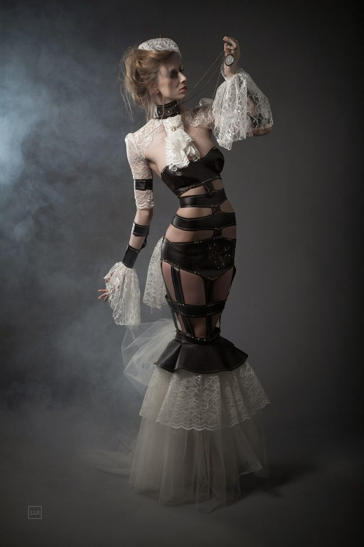 steampunk fashion photography | Leather And Lace Steampunk Couture Dress