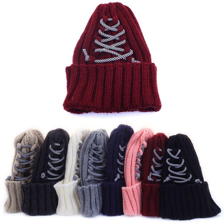 Mens Womens Corset Rope Beanie Knit Ribbed Crochet Skull Cuff Warm Ski Cap Hats #hellobincom #CorsetRopeBeanie