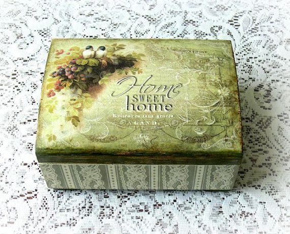 Caja de madera decoupage, joyero, caja de estilo vintage, caja de regalo, caja decoupaged, hogar dulce hogar, aves, encaje
