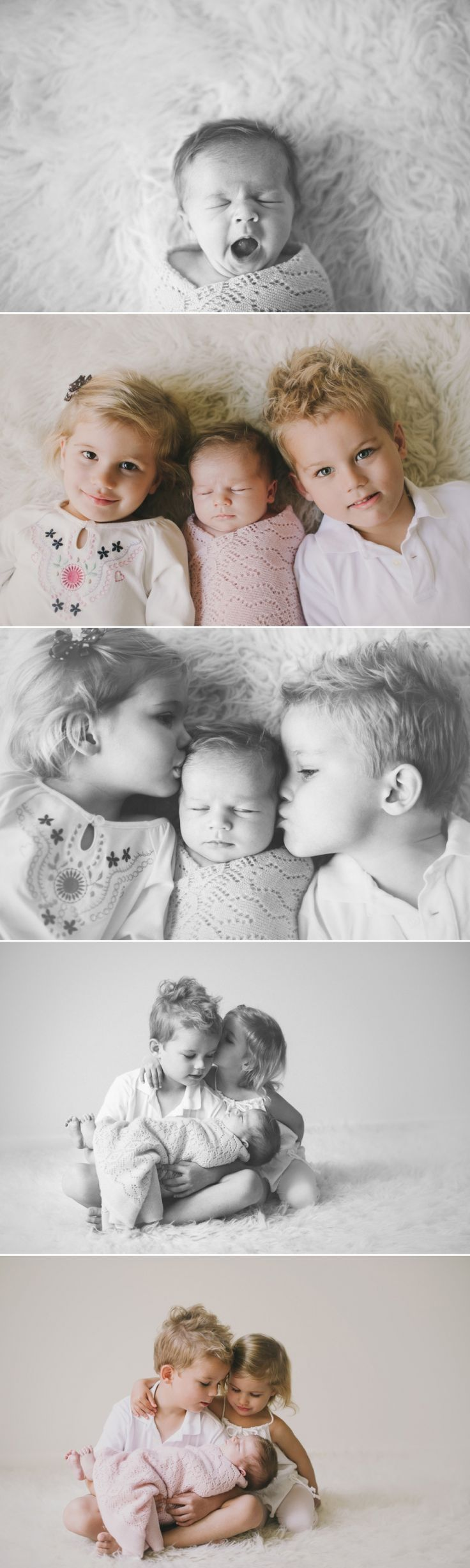 Cute newborn photo shoot with older siblings included. I like these pose ideas, so cute. Newborn photography | children's photography | family photos