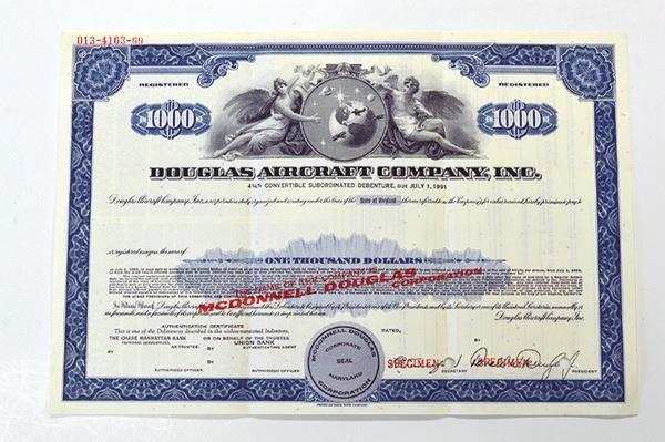 Douglas Aircraft Co. Inc., 1966 Specimen Bond - Archives International Auctions