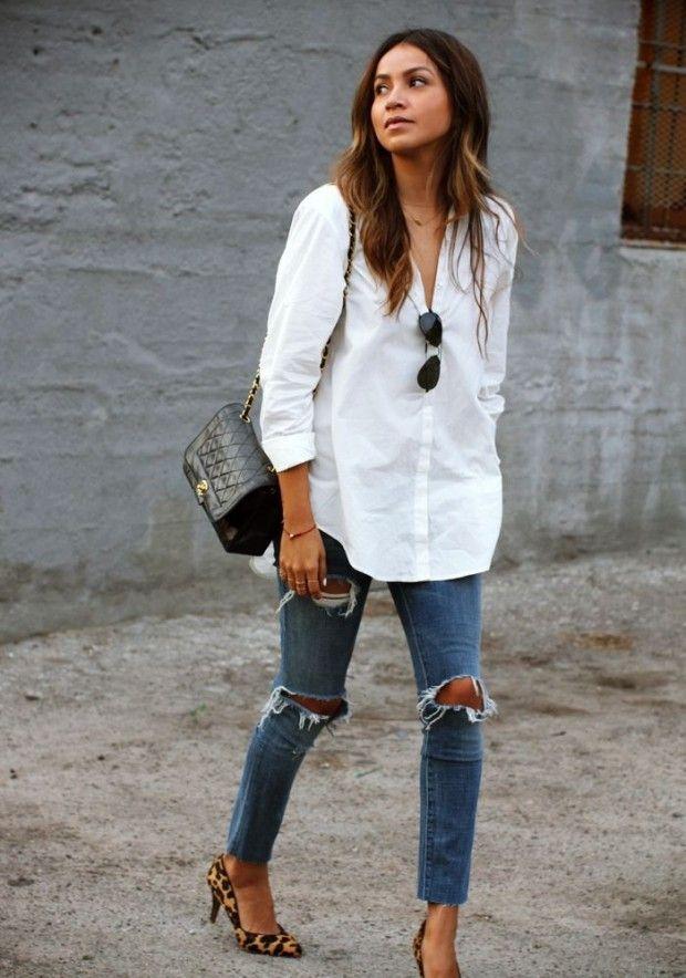 Resultado de imagem para look com calça jeans rasgada na barra masculino