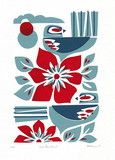 'Two Fantails' Screenprint by Holly Roach | Kina NZ Design + Artspace