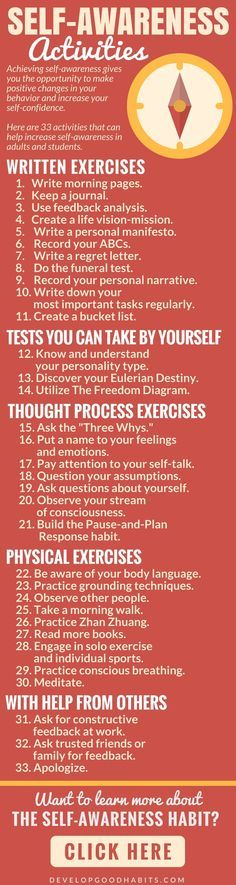 33 activities that increase self-awareness Self-Aware | Mindful | Mindfulness | Self Care | Self Help | Self-Awareness activities | Self Awareness quotes | Self-awareness lessons | Truths | emotional | psychology | Journal | journaling | self awareness b