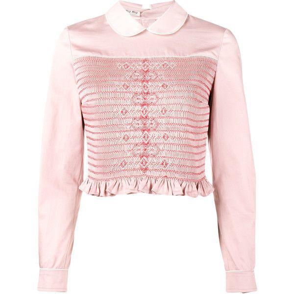 Miu Miu smocked long sleeve shirt ($1,515) ❤ liked on Polyvore featuring tops, pink, shirt top, pink long sleeve shirt, long sleeve shirts, smocked top and extra long sleeve shirts
