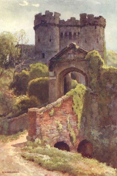 ISLE OF WIGHT/CASTLES: Carisbrooke Castle; Colour antique print from a watercolour, 1920; approximate size 16.0 x 10.5cm, 6.25 x 4.25 inches