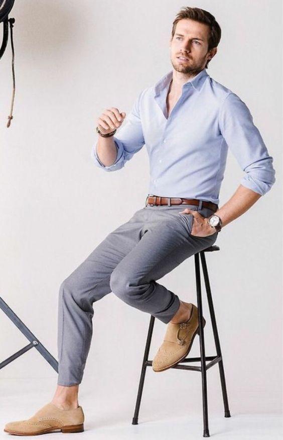 Esporte Fino. Macho Moda - Blog de Moda Masculina: Esporte Fino Masculino, Dicas para Inspirar! Moda Masculina, Roupa de Homem, Moda para Homens, Camisa Slim Azul Claro, Calça Skinny Social, Sapato Monk Strap Marrom