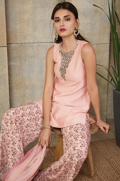 Payal Singhal Peach Palazzo Style Designer Party Wear Salwar Suit