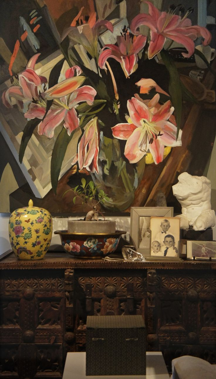 Oriental Lilies - Oil on canvas - insitu Ray Saunderson