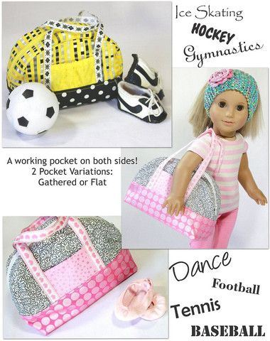 "Sporty Bag 18"" Doll Accessories - Make a sporty bag with this pattern - PixieFaire"