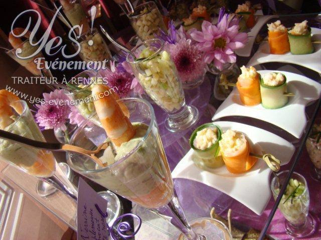 Buffet cocktail Yes-événement, traiteur à rennes. Verrine de la mer et maki à la française.