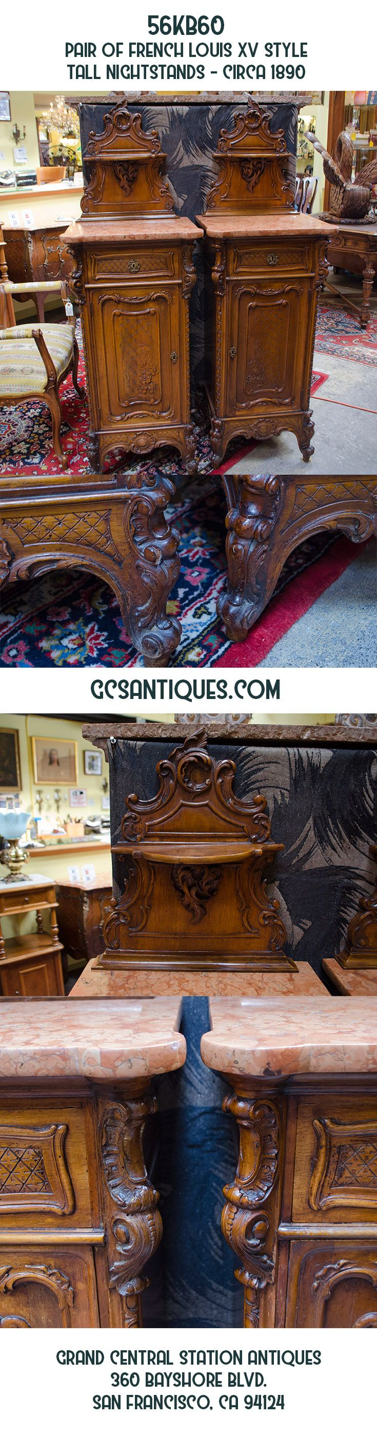 56KB60 - Pair of French Louis XV Style Tall Nightstands - circa 1890 www.GCSAntiques.com
