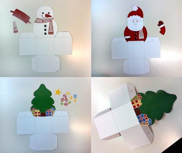 Gyerekjáték az ajándékcsomagolás: karácsonyi díszdobozok, sablonnal   Életszépítők