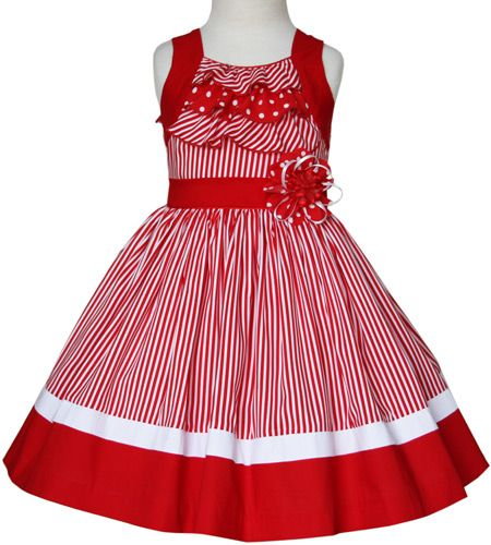 Summer whimsy girls red dresses with stripes and ruffles made in cotton.
