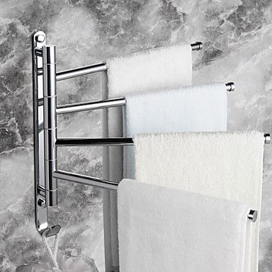 Towel Rack with Hooks,Contemporary Chrome Finish Four Bars Active Brass,Bathroom Accessory - USD $ 49.99