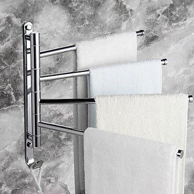 handdoek rek met haken, eigentijdse verchroomde afwerking vier bars actieve messing, badkamer accessoire – EUR € 39.99