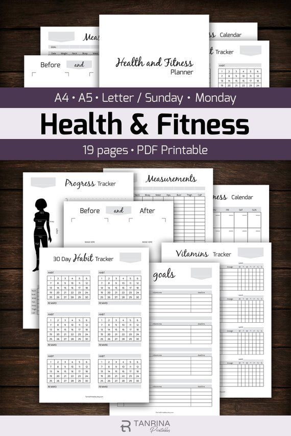 Fitness Planner Printable Health Planner Workout Plan Meal Organizer