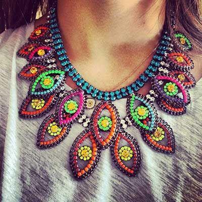 imagem de maxi colar | Perles | Maxi colares, Colares e Look
