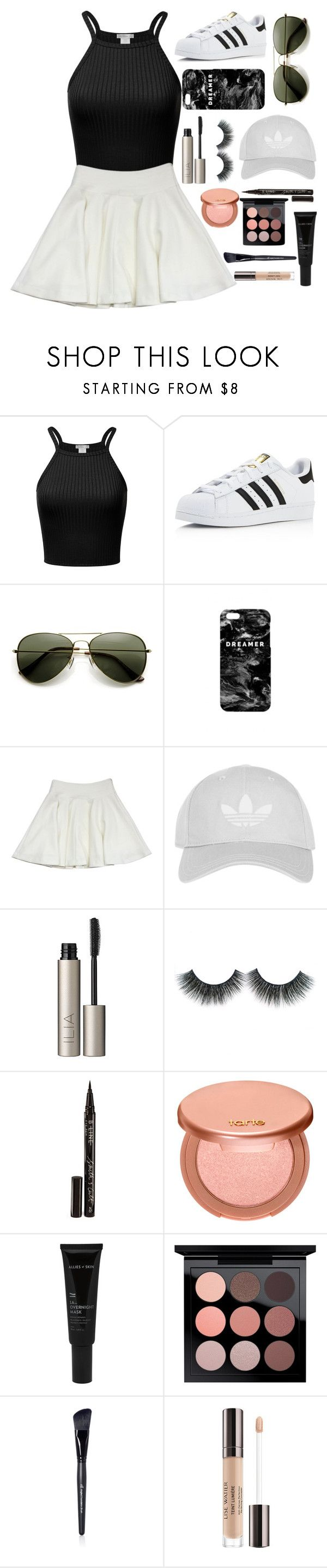 """""""aesthetically pleasing"""" by trxppy-gxd ❤ liked on Polyvore featuring adidas, Mr. Gugu & Miss Go, Milly, Topshop, Ilia, Smith & Cult, tarte, Allies of Skin, MAC Cosmetics and Lumière"""