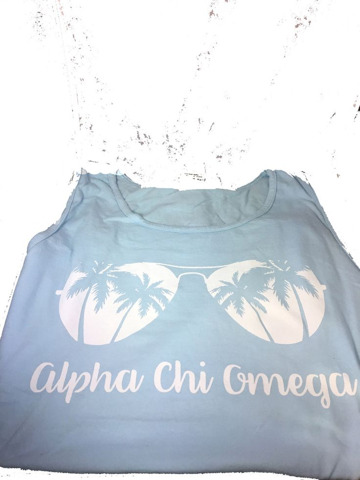 Alpha Chi Omega Sorority Sunglass Tank Top- Chambray - Brothers and Sisters' Greek Store
