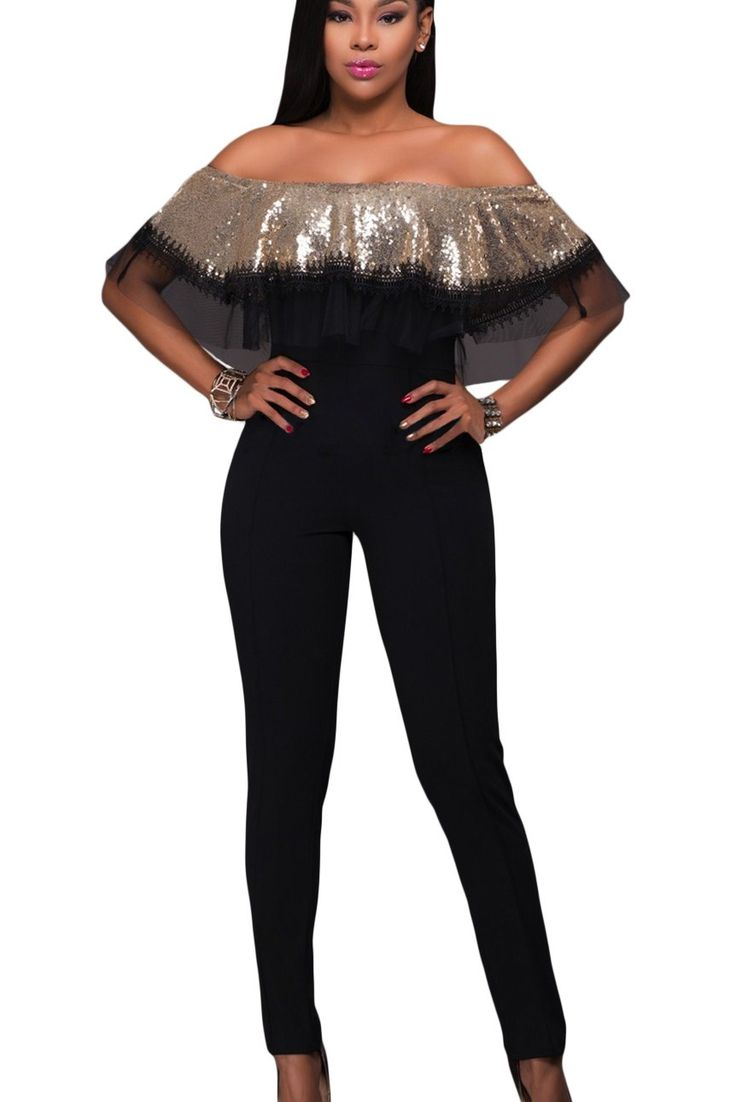 Combinaison Femme Soiree Chic Noir Or Paillettes a Volants Pas Cher www.modebuy.com @Modebuy #Modebuy #Or #Noir #gros