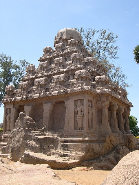 Pancha Rathas is an example of monolith Indian rock-cut architecture dating from the late 7th century, located at Mahabalipuram, a UNESCO World Heritage site and village 60 km south of the capital Chennai in the state of Tamil Nadu, India. - The sandman did this...