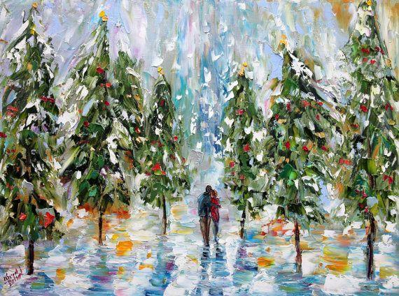 Uptown Art Calendar Hendersonville Tn : Original oil painting winter romance landscape palette