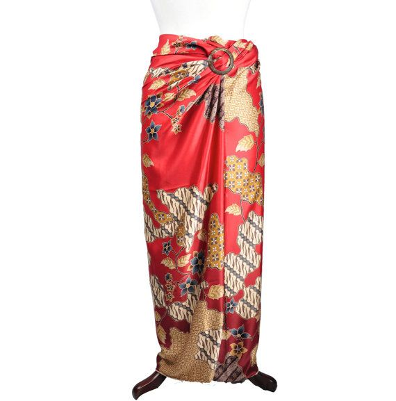 Luna Red Gold Silk Sarong by HeritsyShop on Etsy, $39.90