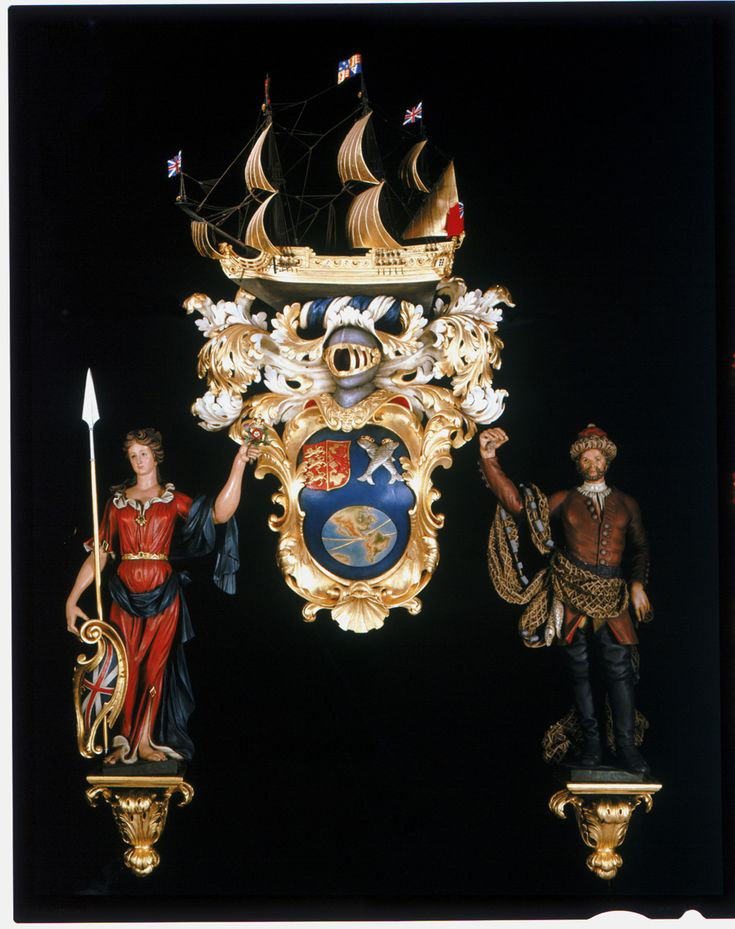 Carved painted and gilded coat of arms of the South Sea Company (the original grant of arms 31st October 1711).