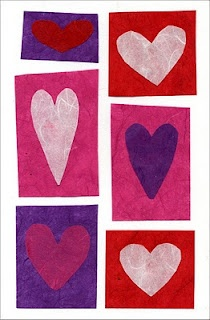 Super easy heart card collage. Could make a card. Could use a flower motif.