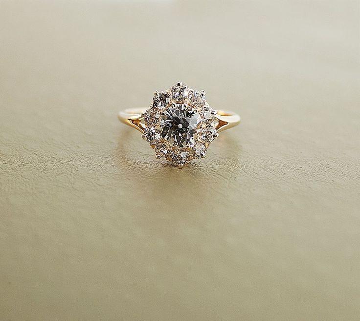 Antique 14K Rose Gold Clustered Flower Diamond Engagement Ring