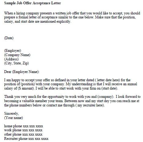 Job Offer Letter From Employer - Ex